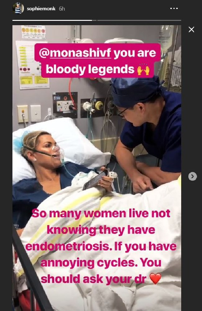 Sophie Monk shares her endometriosis diagnosis with her followers in an Instagram story. Picture: Instagram
