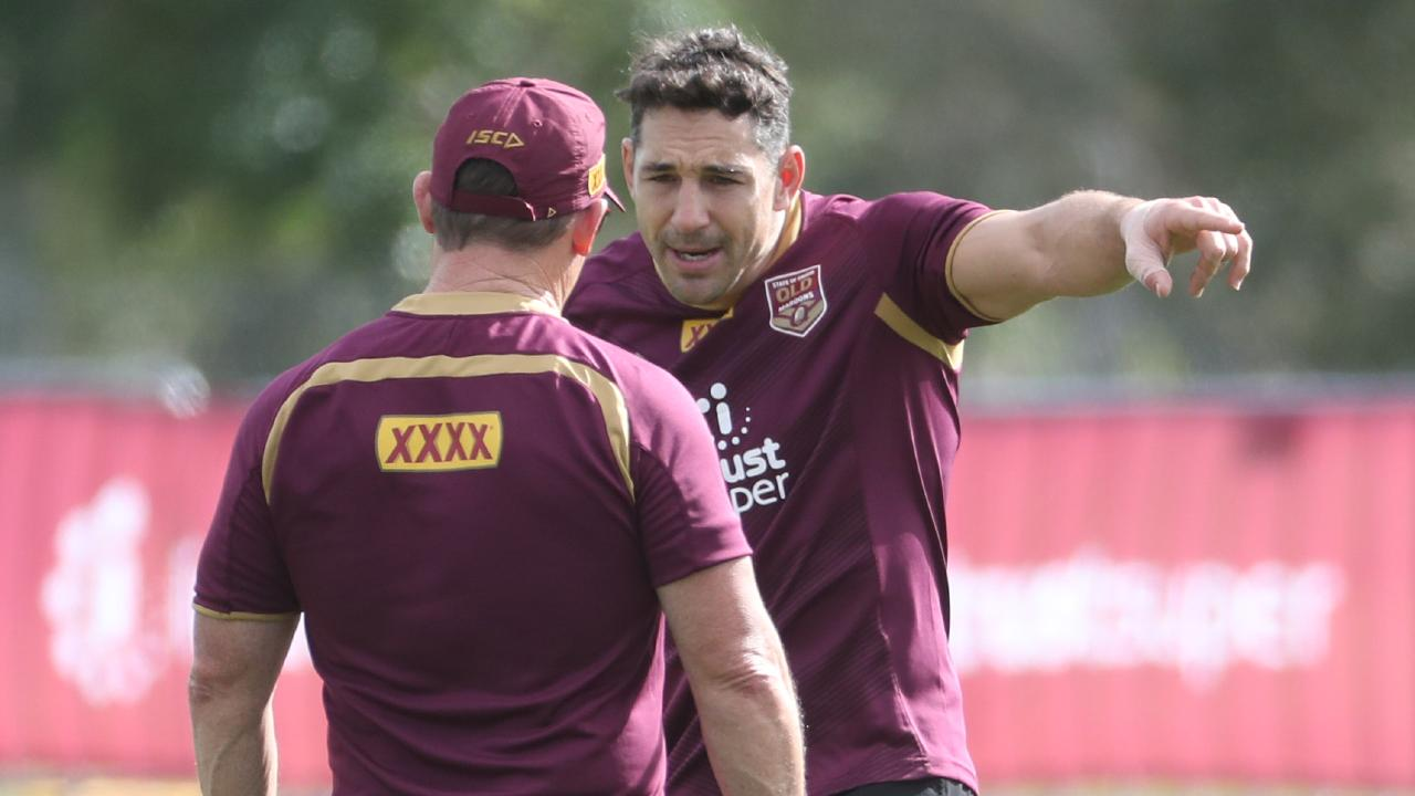Billy Slater (right) will be a Maroons consultant. Picture: Peter Wallis