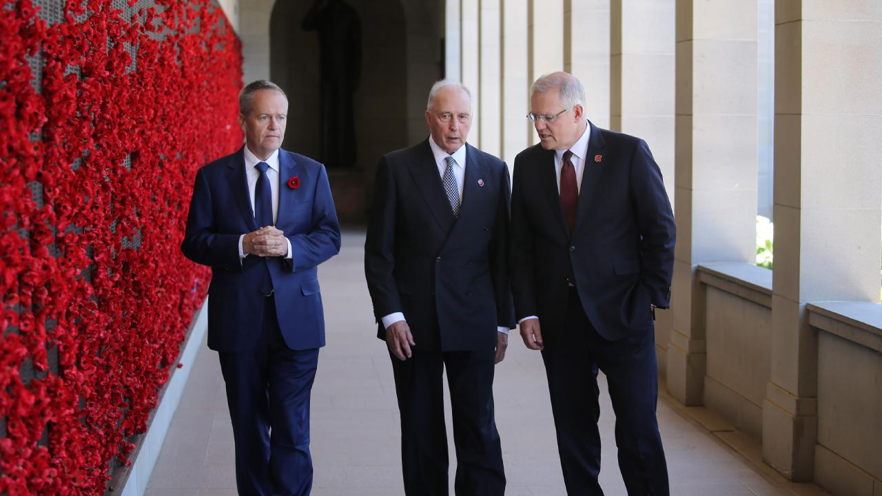 Opposition Leader Bill Shorten, former prime minister Paul Keating and current Prime Minister Scott Morrison mark Remembrance Day at the Australian War Memorial in Canberra. Picture: Gary Ramage