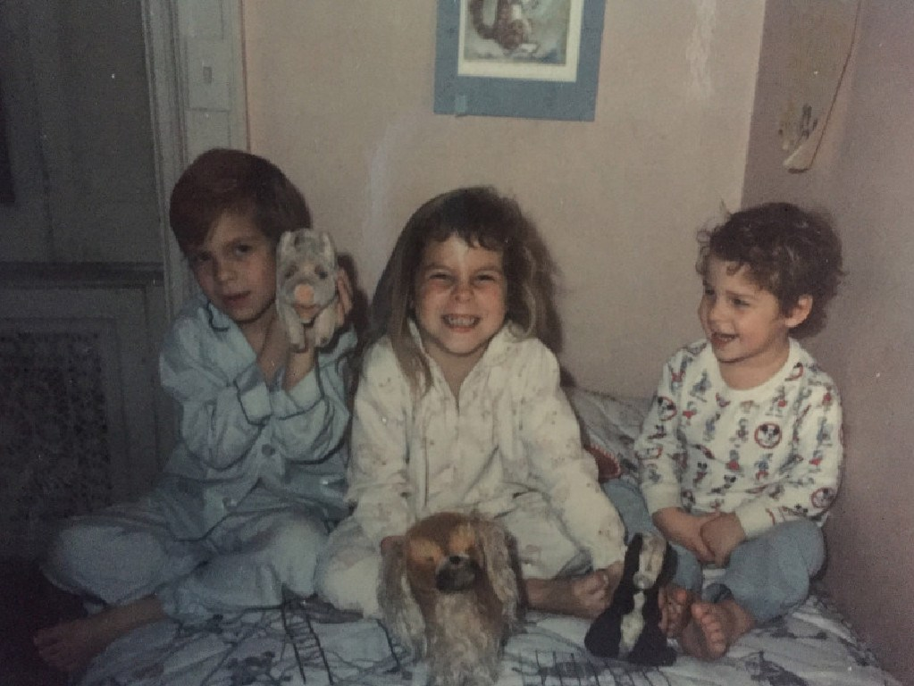 From left: Greg, Christine and Braddy as children living in The Dakota in the 1970s.