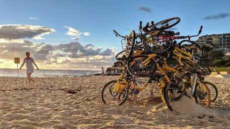One artist shared his anti-bike sharing handiwork on Instagram.