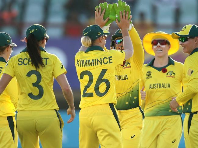 Austraila celebrate a run out in their victory over Ireland. Picture: Getty