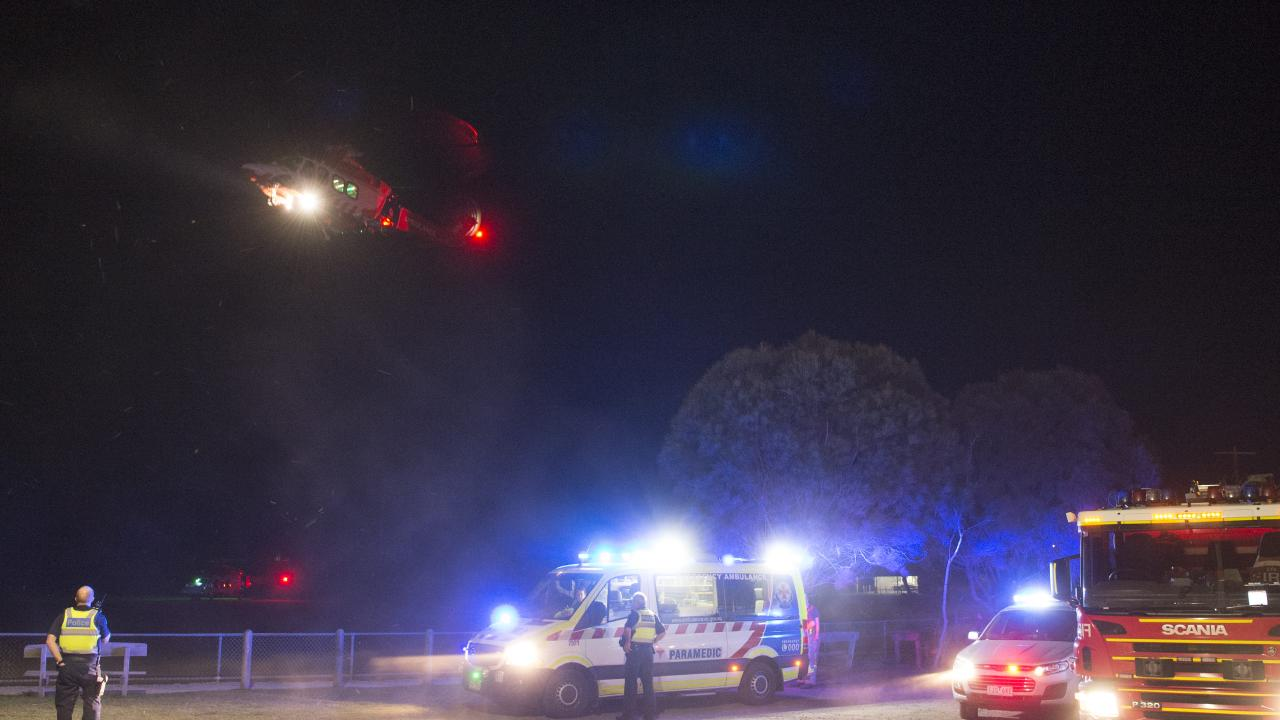One of the two ambulance helicopters departs for The Alfred hospital. Picture: Alan Barber