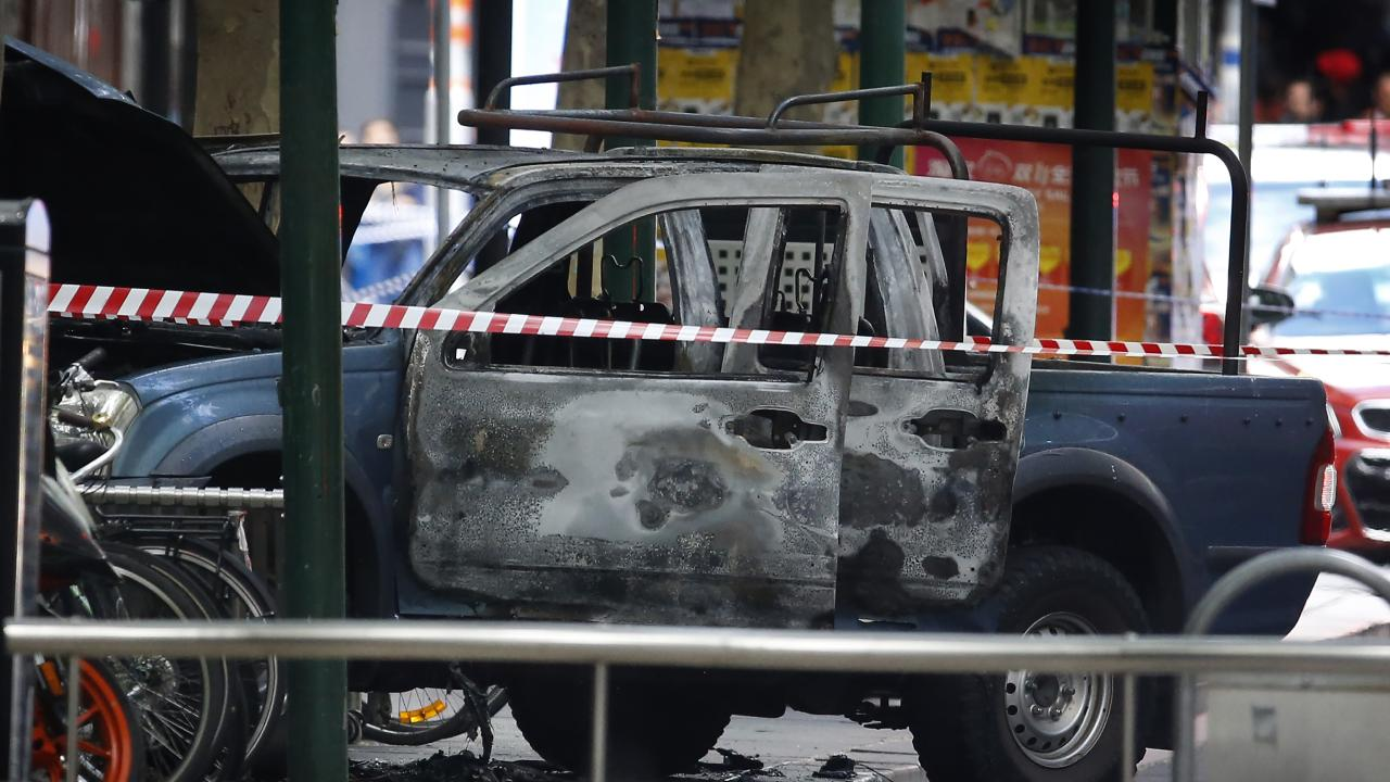 Ali set his Hilux on fire before stabbing passers by. Picture: David Caird