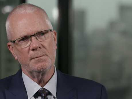 Former ABC chairman Justin Milne during an interview with Four Corners journalist Sarah Ferguson. Picture: AAP