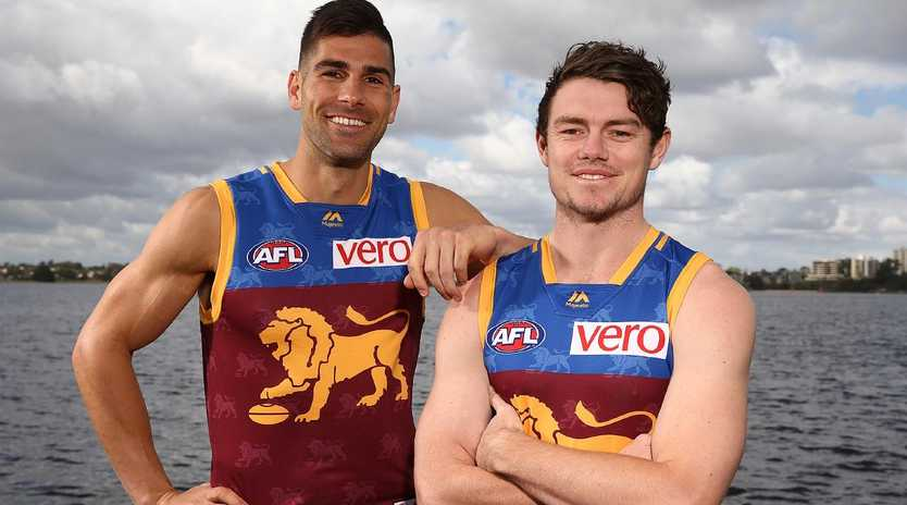 New Lions Marcus Adams and Lachie Neale.