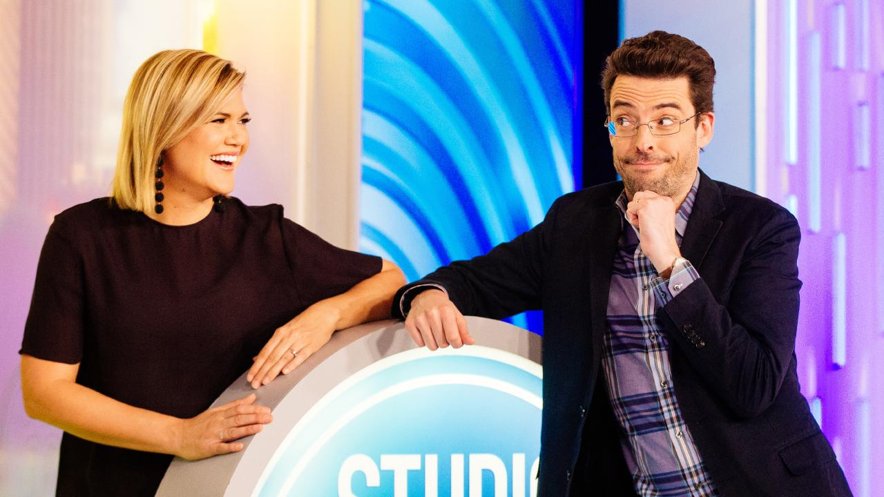 Joe Hildebrand (right) co-hosts Studio 10 with Sarah Harris. Picture: Jonathan Ng