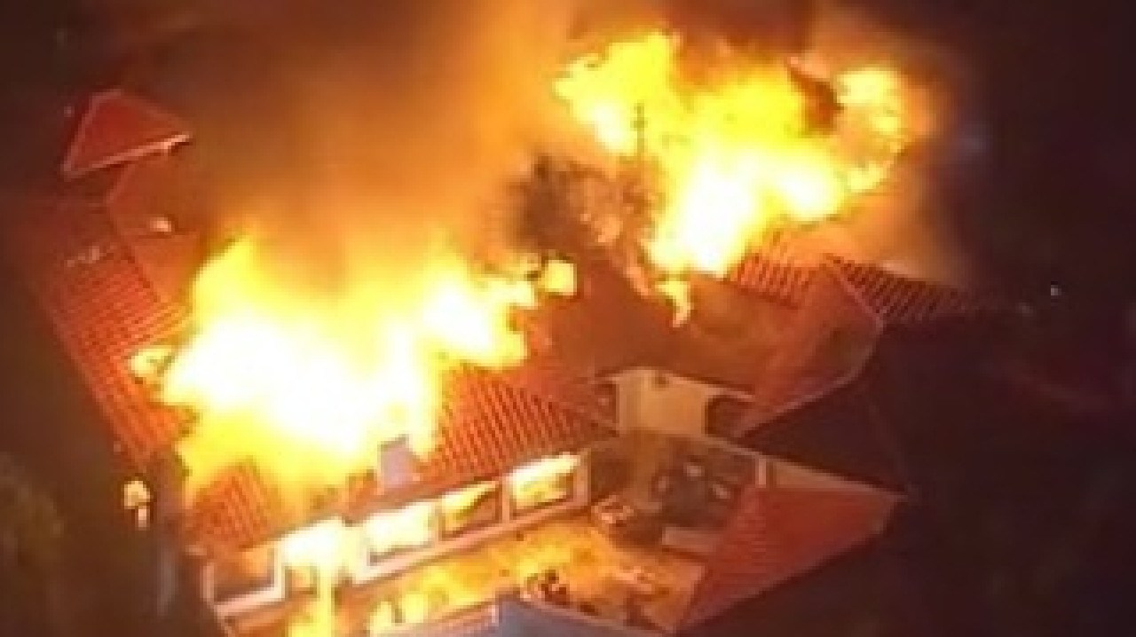 Camille Grammer's LA home goes up in flames. Picture: Instagram