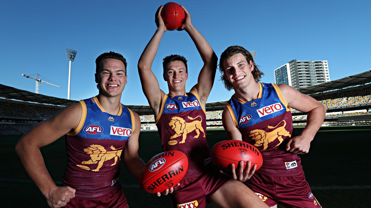 Lions rising stars Cam Raynor, Hugh McCluggage and Jarrod Berry. Picture: Annette Dew