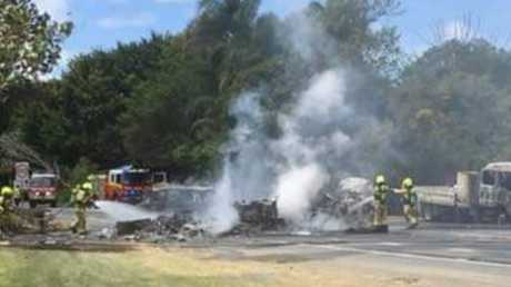 Emergency crews are attending a crash on Tweed Valley Way. Photo: Fire and Rescue NSW Station 391 Murwillumbah