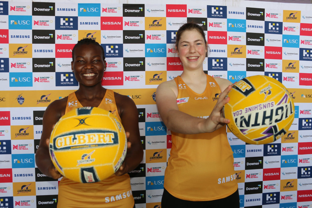 Two of Sunshine Coast Lightning's newest recruits, Peace Proscovia and Annika Lee-Jones, have arrived on the Sunshine Coast and are gearing up for the commencement of preseason training.