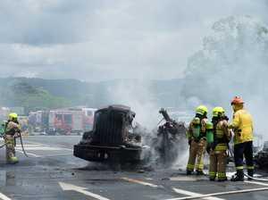 WATCH: Fiery truck crash closes major road