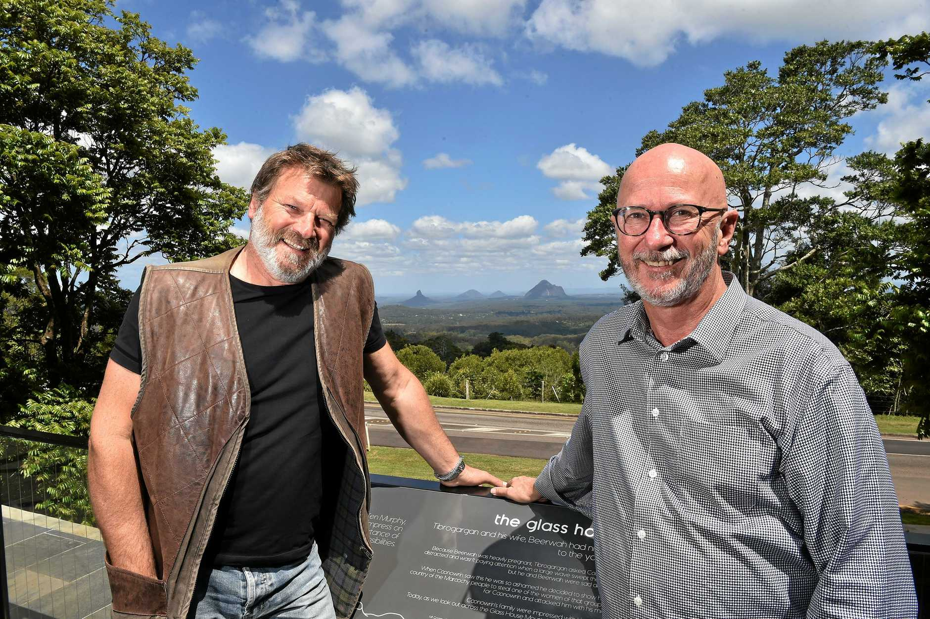 Tony Gill (right) and Ferre De Deyne are behind a push for a hinterland art galley with a view of the Glasshouse Mountains.