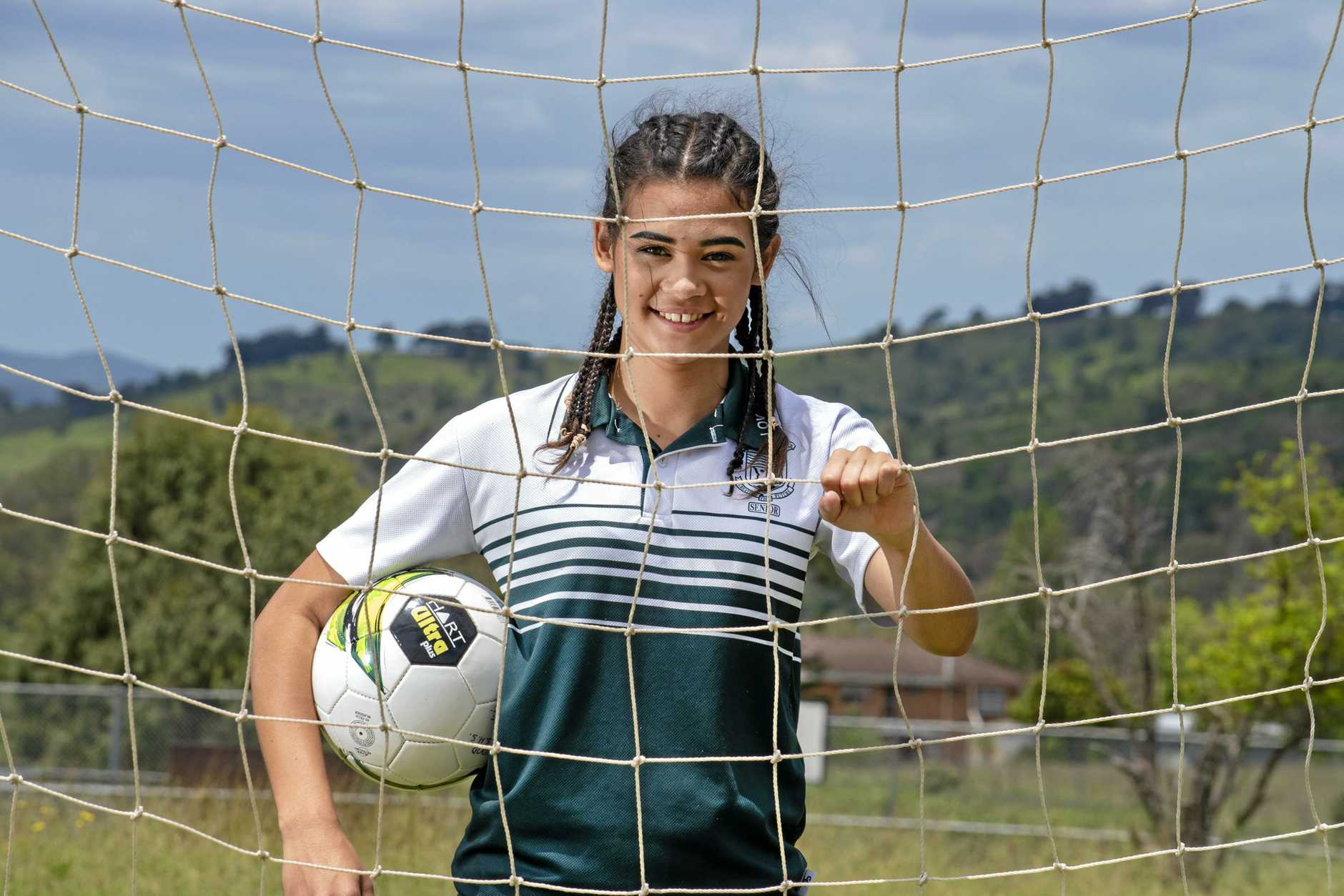 KICKING GOALS: Lowood State High School student Shayla McGill, 17, has been selected for the Western Pride under-17 NPL girls team. She is the first student from Lowood SHS to be selected for the program.