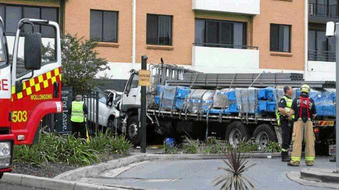 DANGEROUS: The truck went through the McDonald's at Fairy Meadows and didn't stop until it hit an apartment block.