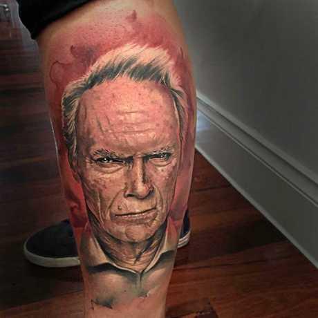 Tattoo artist Benjamin Laukis' portrait of Clint Eastwood starring in Gran Torino.