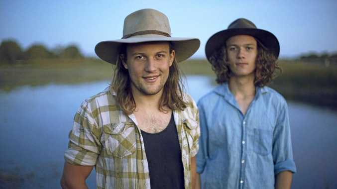 HOMEGROWN: Talented brothers Harry Jakamarra and Elwood Gray will perform alongside award-winning Canadian duo Madison Violet (inset).