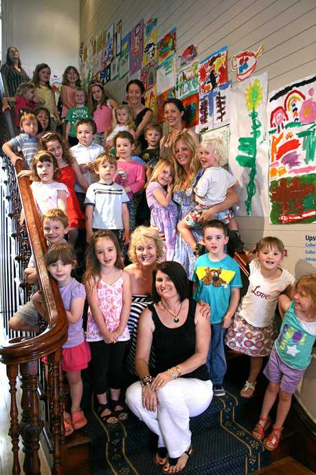 Alma Street pre prep teachers Alleena Bath and Lisa Gilmore with their group of budding artists.
