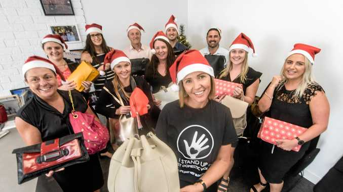 Elders Principal Kylie Pearson and the Elders Grafton team get ready to donate their bags of good as part of the Share The Dignity campaign this Christmas season.