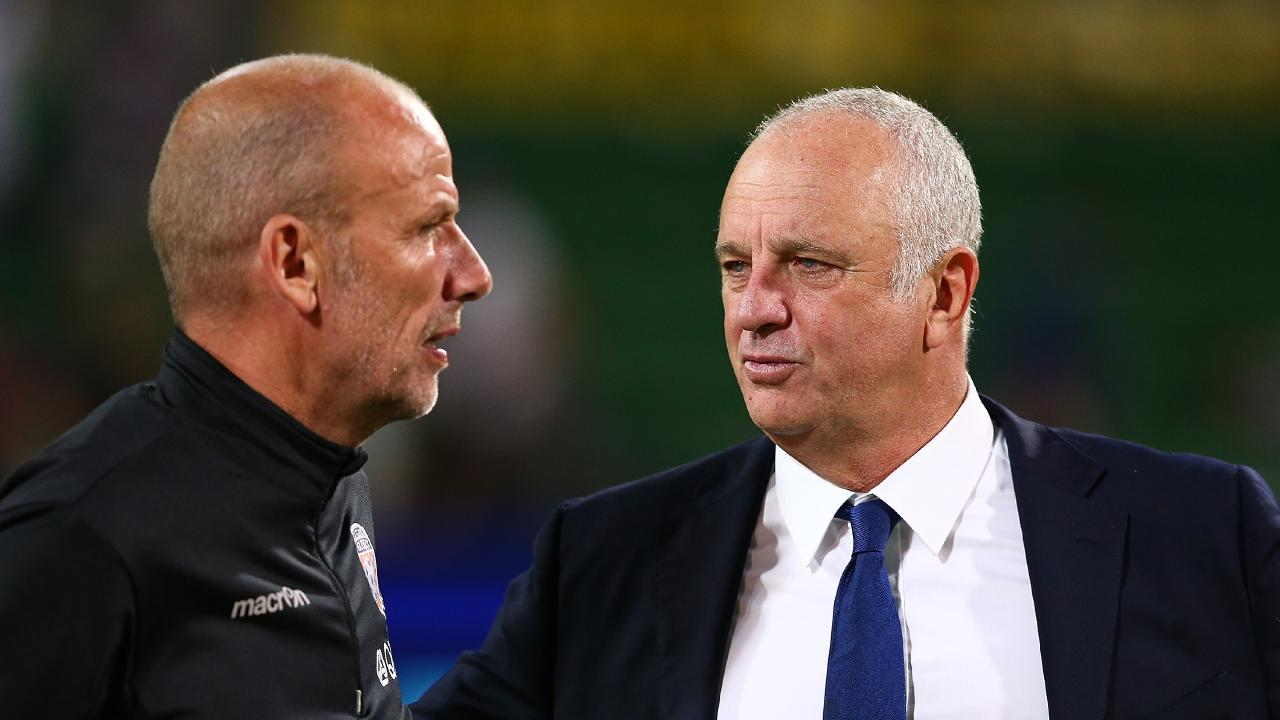 Kenny Lowe (L) has been named a Socceroos assistant coach