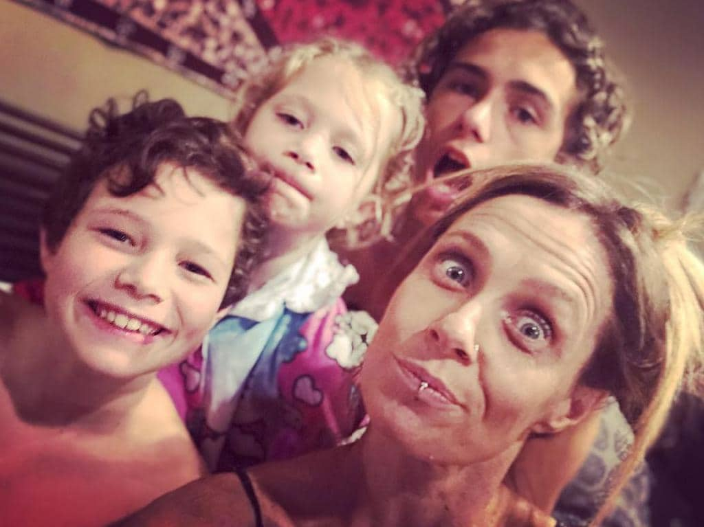 Kasey Chambers with her kids — Arlo, Poet and Talon. Picture: Instagram