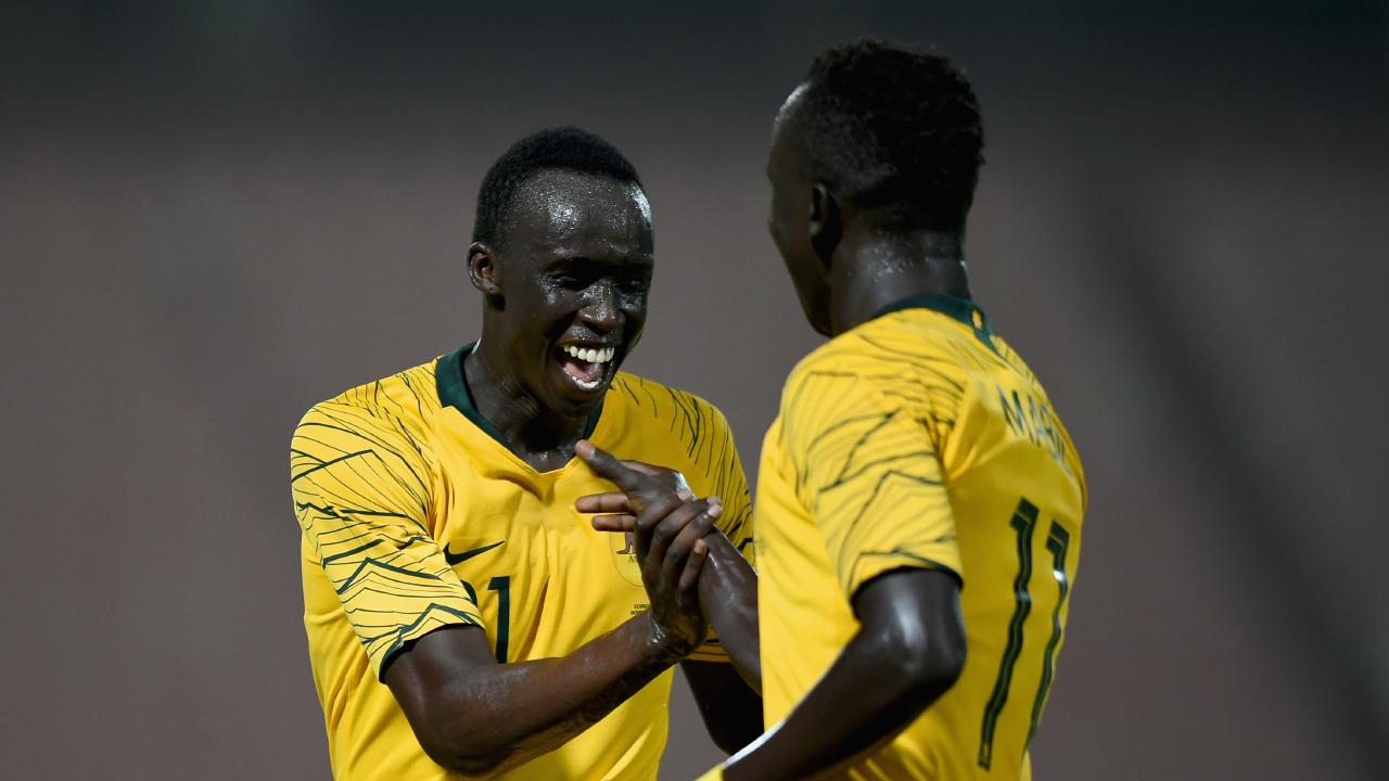 Thomas Deng made his Socceroos debut against Kuwait.