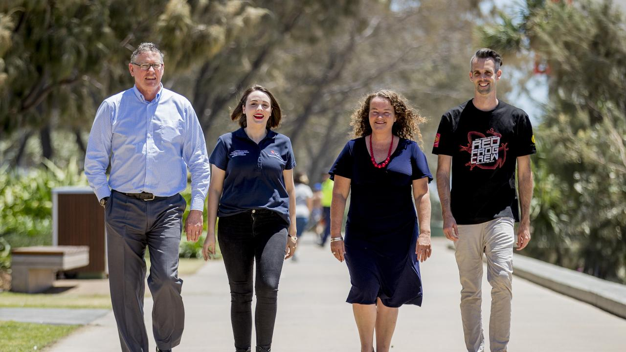 (from left) Mark Reaburn, the independent chair of Gold Coast Schoolies Advisory Group, Alexandra Davis, communications and relationship manager for ARM Australasia, Angela Driscoll of Gold Coast Youth Services and Chris George of Red Frogs Australia. Picture: Jerad Williams