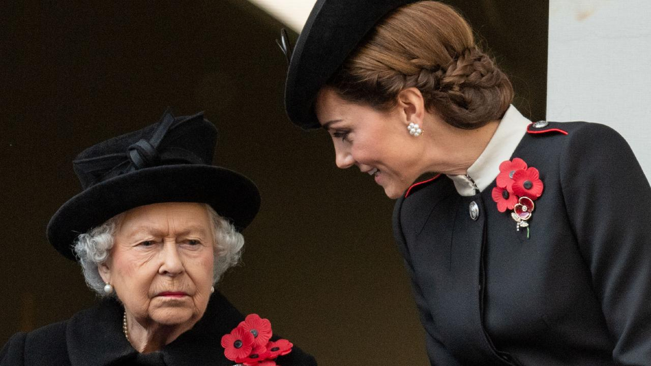 The Duchess of Cambridge shared a private moment with the Queen. Photo: Mark Cuthbert/UK Press via Getty Images