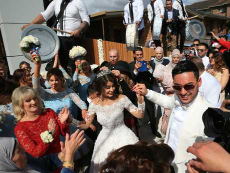 Salim Mehajer and his former wife Aysha at the wedding which started it all in Lidcombe in 2015. Picture: Toby Zerna.
