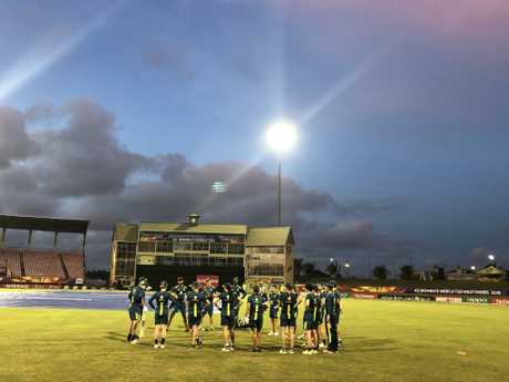 The Australians train under the lights at Providence Stadium Guyana. Picture: Eliza Sewell