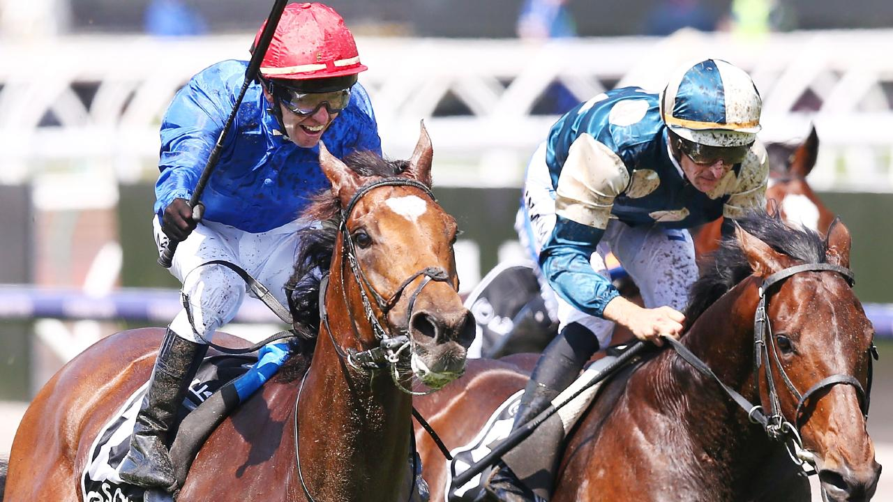 Hugh Bowman (right) rides Marmelo to second place in the Melbourne Cup.