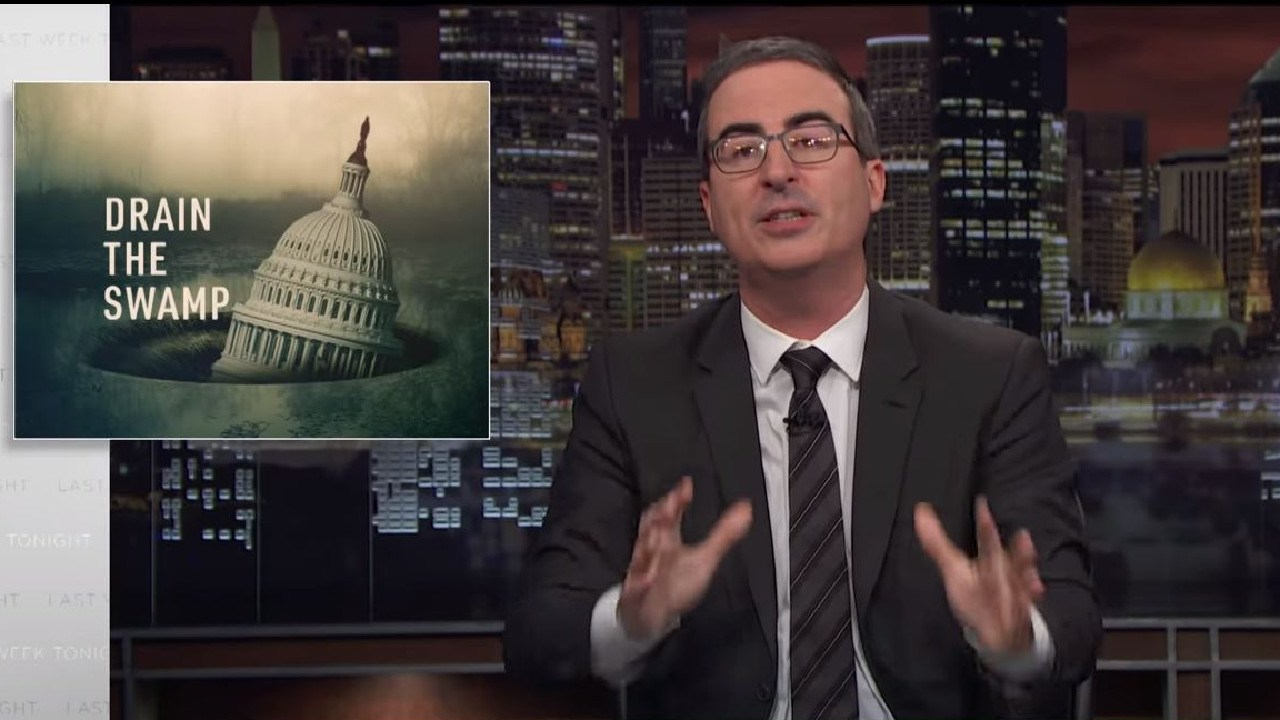 John Oliver has analysed just how much of a 'swamp' Washington still is.