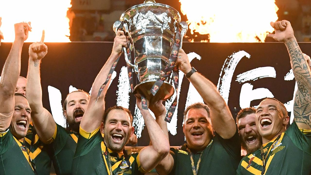 Australia celebrates winning the Rugby League World Cup Final in 2017.