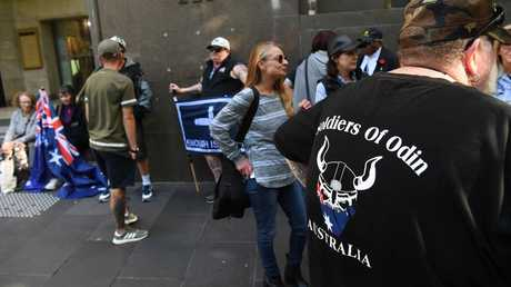 Far-right protesters held an anti-Islam protest in Bourke Street the day after the terror attack. Picture: AAP