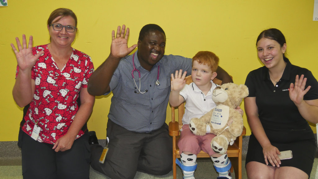 Hervey Bay Hospital pediatric nurse Sonya Williams with doctor Clever Banda, patient Mason James (4) and MMM's Juilette Iuculano at the handover of $12,000 raised for a new obs machine.