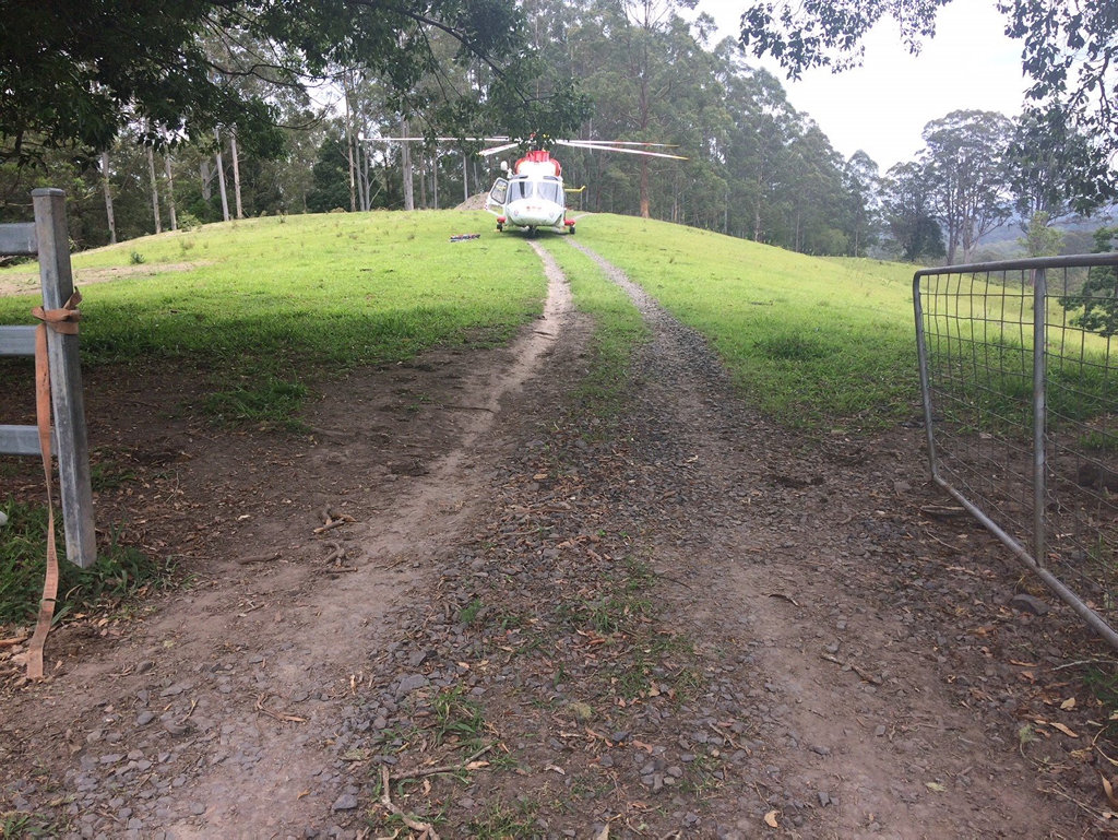 The Westpac Life Saver Rescue Helicopter was tasked to Blue Knob where a man was hit by a tree he was cutting down.
