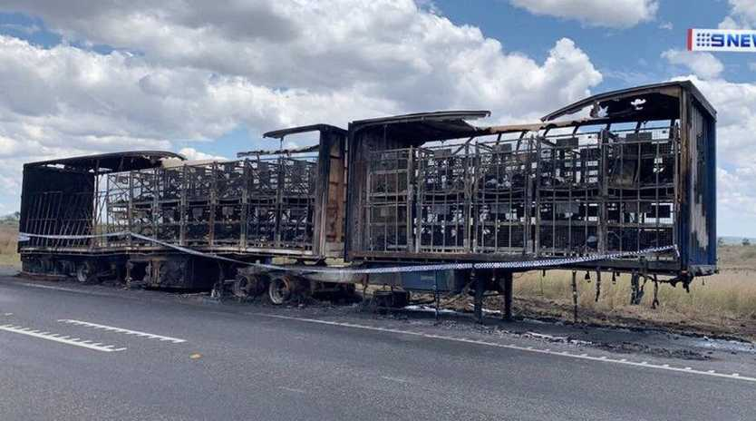 The remains of an Australia Post semi-trailer after it caught alight on Tuesday night.