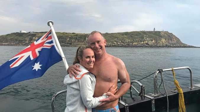 Helen Shadforth and Sam Penny after his successful English Channel swim.