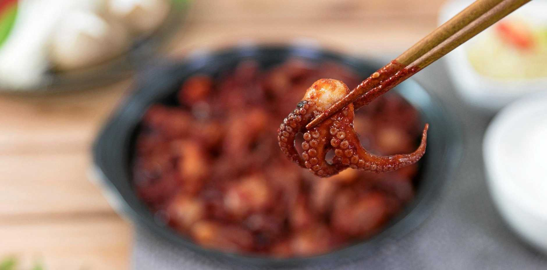 The Korean-style marinade provides a tasty barbecued octopus.