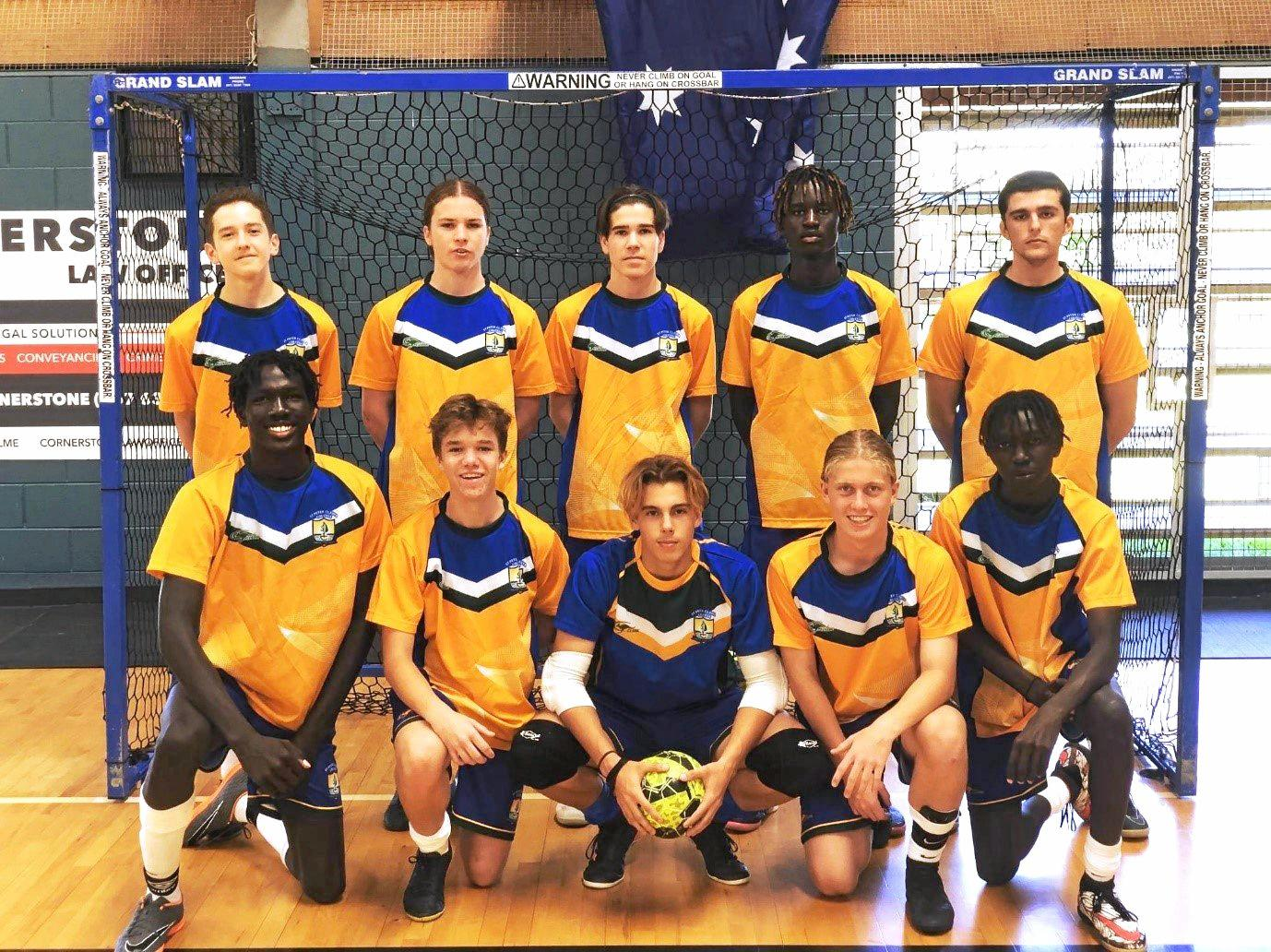 St Peter Claver College's skilful futsal team: Back row - Jaylen Vaughan, Ky Bowman, Joel Hunter (captain), Francis Marle and Michael Groombridge. Front row: Deng Deng, Oliver Taylor-Frey, Anthony Buhse, Wyatt Weeks and Cher Deng.