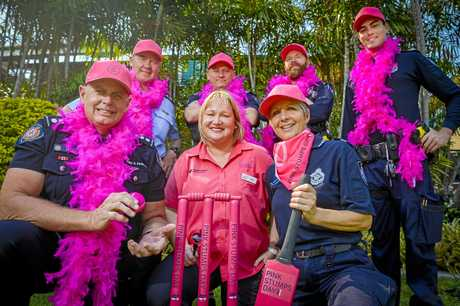 Gladstone Fire Inspector Noel King, breast care nurse Sally Haley and Gladstone police inspector Darren Somerville with police officers Andrew Cornhill, Brendan Rodham, Colleen Smith and Kyle Ostapovitch are ready for this weekend's pink stumps day.