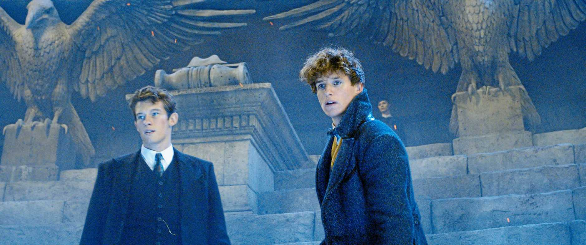 Callum Turner and Eddie Redmayne in a scene from the movie Fantastic Beasts: The Crimes of Grindelwald. Supplied by Warner Bros.