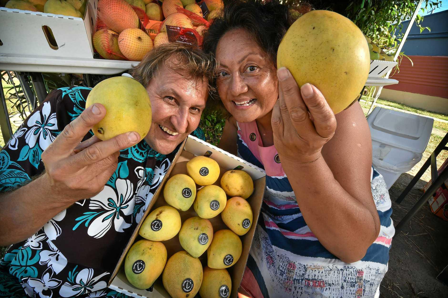 Russell Craig and Pasilika Gaiutau-Craig warming up for the summer mango season.