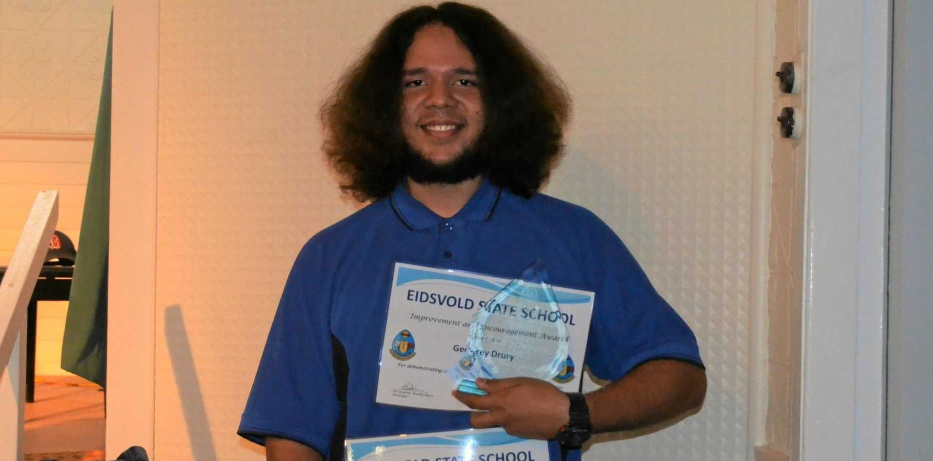 Geoffrey Drury received the  Student of the Year Award for Eidsvold State School.