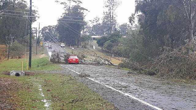 storm damaged from the first of two storm cells at Gympie October 11, 2018.