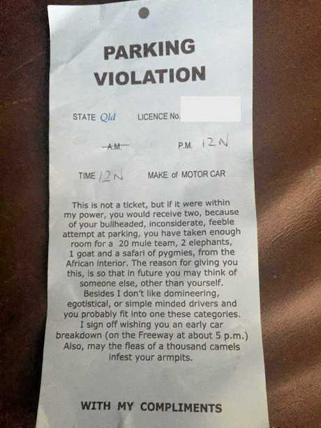 Nicole Miller found this fake parking notice on her windscreen at Nambour yesterday.