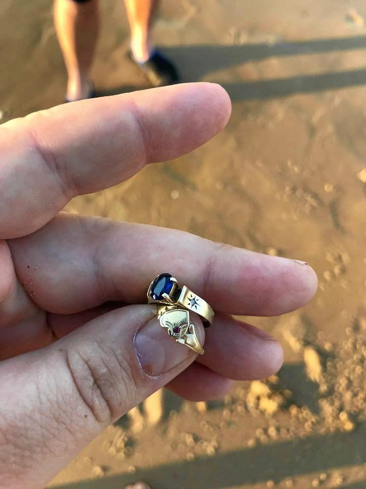 EARLY CHRISTMAS MIRACLE: Prospector Stephen Gilbert said the rings, washed  further down by the tide, would not have been found the next day.