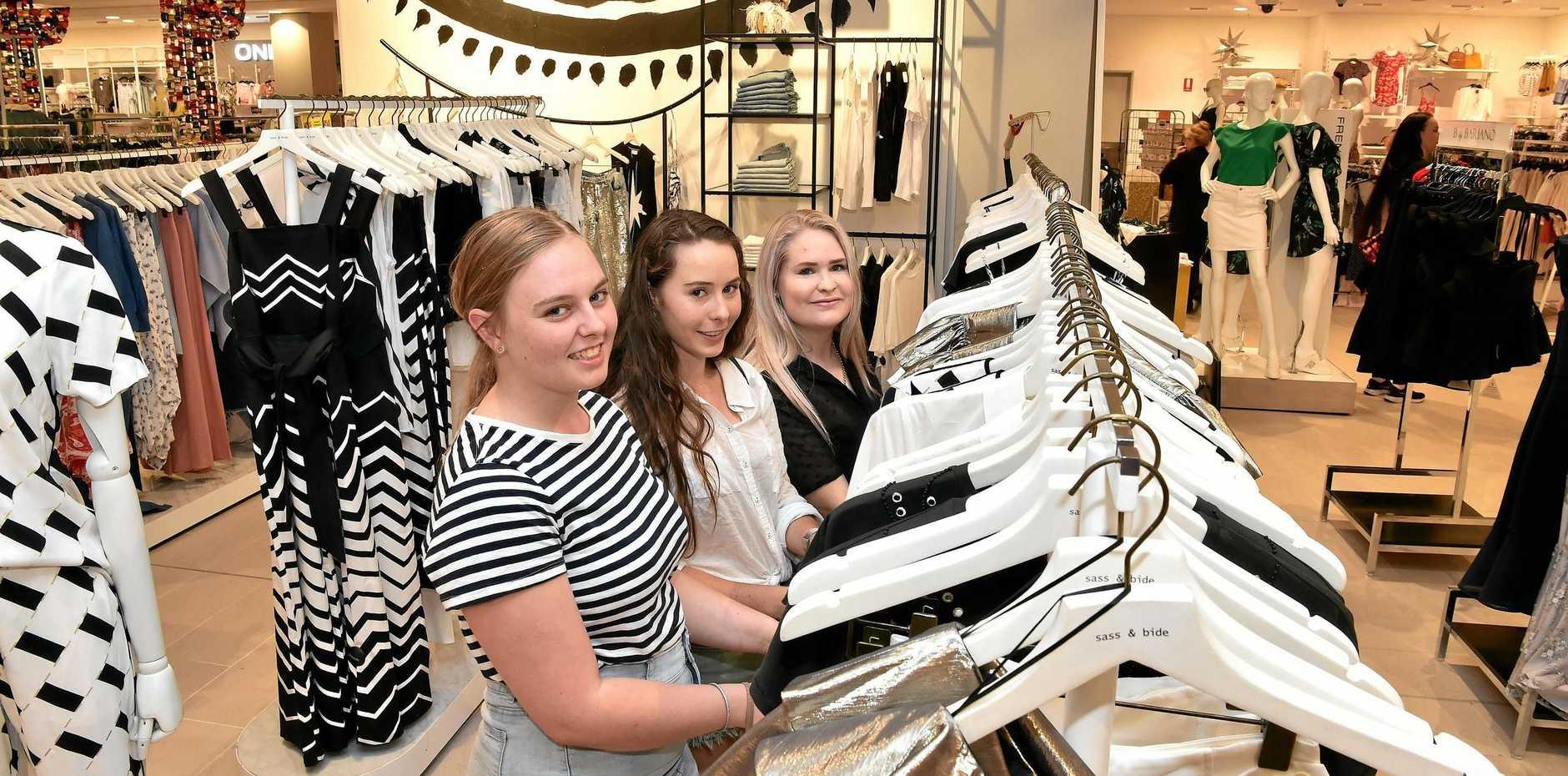Mikaela Thompson, Nina Porteous and Syenna Rogerson enjoying the range of Sass & Bide clothes at the new-look Myer Maroochydore store.