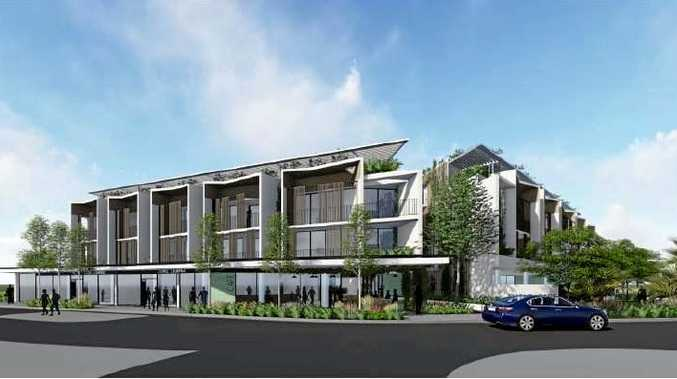 Four storey development comprising of commercial premises, cafes, child care centre, shop top housing, serviced apartments, and car parking awaiting approval.