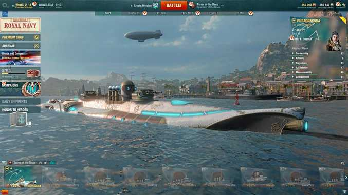 Submarines surface briefly in World of Warships game
